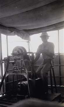 Operating the mechanical sounding engine on the MARINDUQUE.