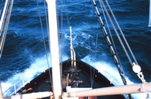 The bow of the Bureau of Commercial Fisheries Ship BROWN BEAR.