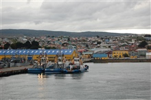Looking back to Punta Arenas, the southernmost city in the world, as the NOAAShip RON BROWN leaves port.  Latitude 53 10 S, Longitude 70 56 W.