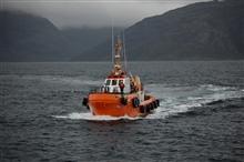 The pilot boat PUDU approaching the NOAA Ship RON BROWN in the Strait ofMagellan.