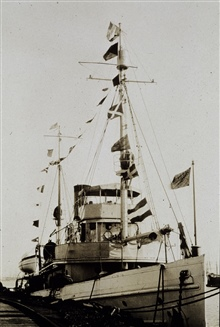 Coast and Geodetic Survey Ship PIONEER dressed for Washington's Birthday.In service 1922 - 1941.