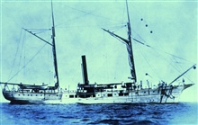 Coast and  Geodetic Survey steamer BLAKE - in service 1874-1905.Note cable leading from bow, ship anchored in 600 fathoms.This vessel pioneered deepsea anchoring under John Elliott Pillsbury.Current surveys in the Windward Passage.