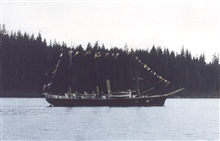 Coast and Geodetic Survey Steamer F. R. HASSLER.In service 1871-1895.Pacific service.Dressed ship for holiday.