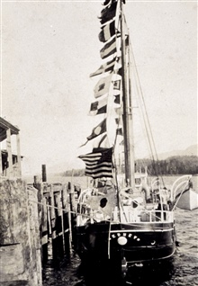 Coast and Geodetic Survey Steamer THOMAS R. GEDNEY.In service 1875-1915.Pacific service.Inport - dressed ship for holiday.