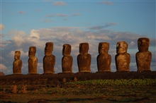 Moai facing inland at Ahu Tongariki, restored by Chilean archaeologist ClaudioCristino in the 1990s.