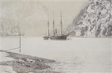 Coast and Geodetic Survey Steamer PATTERSON.In service 1884-1919.Note tide staff in foreground