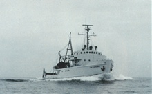 Bureau of Commercial Fisheries Vessel GERONIMO.  This vessel operated out ofGalveston.  In 1964 it was the first vessel to transmitoceanographic data via the communications satellite Syncom II to a shore